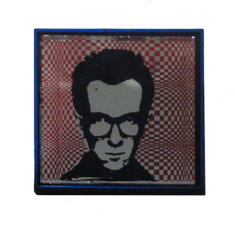 Elvis Costello vintage mirror badge, 70s