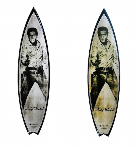 Elvis (silver tone) and Gun Metal Elvis surfboards