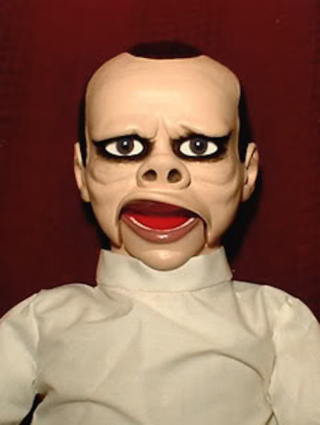 An evil doctor from The Twilight Zone episode from 1960, Eye of the Beholder ventriloquist dummy
