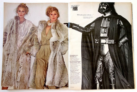 Star Wars characters modeling fur for Vogue in 1977