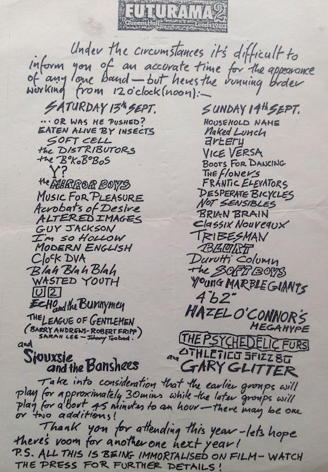 Futurama Festival lineup, September 14th and 15th, 1980