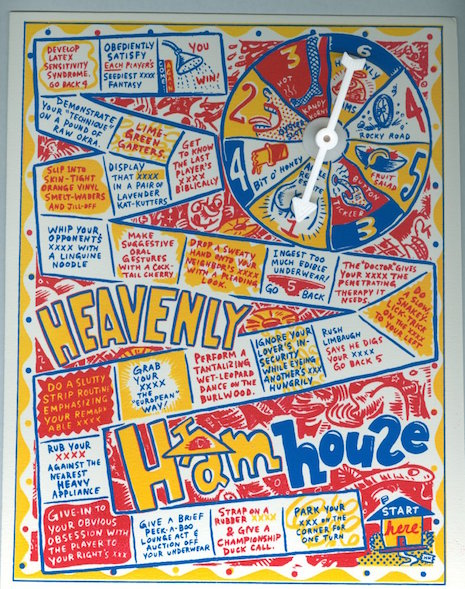 Heavenly Hamhouse silk-screened game board and