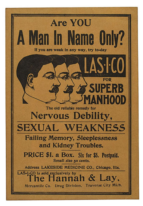 'Are YOU a man in name only?': Vintage handbill for manhood booster tablets