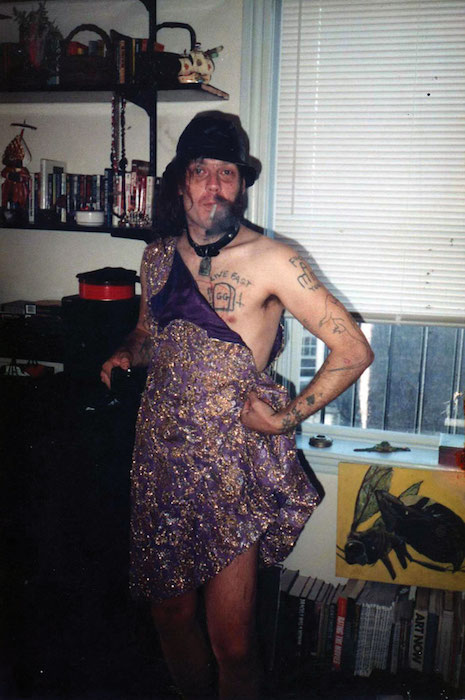 GG Allin and what remains of the dress he wore to his brother Merle's wedding in 1989