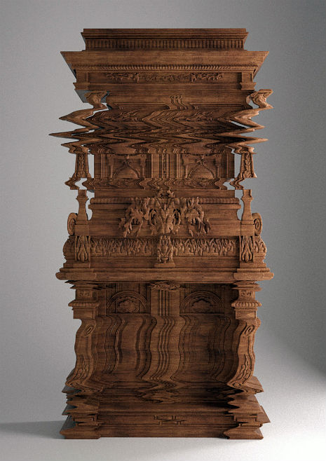 Truly modern (and yet…): Hand-carved 'glitch' furniture made from wood