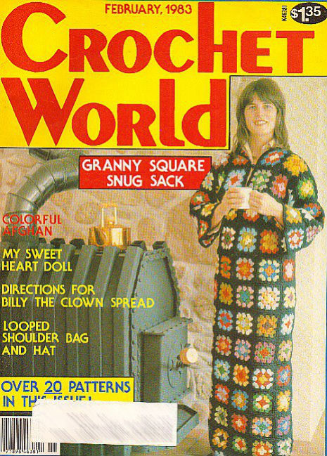 Fantastical crochet 'granny' robe to drink your morning cup of coffee in, 1983