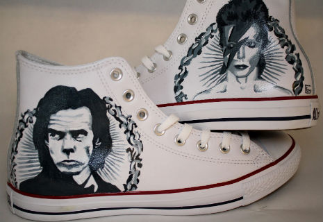 Nick Cave and David Bowie hi-top All Stars sneakers