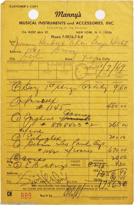 Hendrix receipt