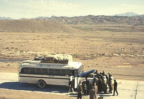 hippie bus in desert