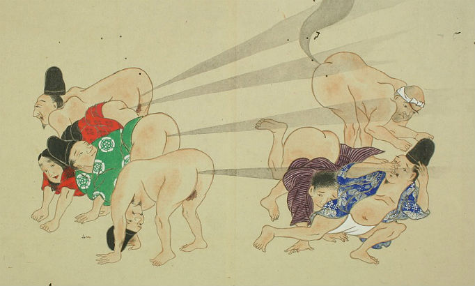 Hilariously crude Japanese 'fart battle scrolls' from the Edo period
