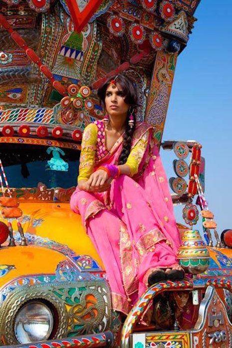 Jingle Truck with Sari woman on hood