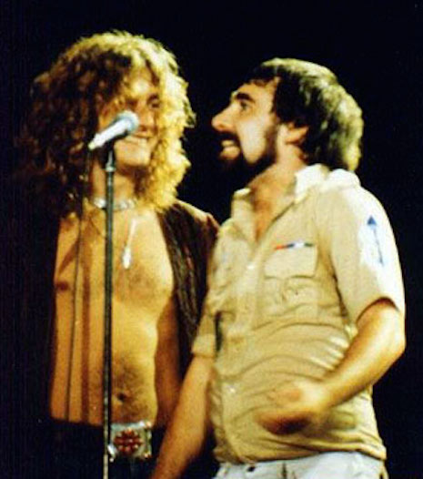 Keith Moon and Robert Plant on stage at the Forum in Los Angeles, June 23, 1977