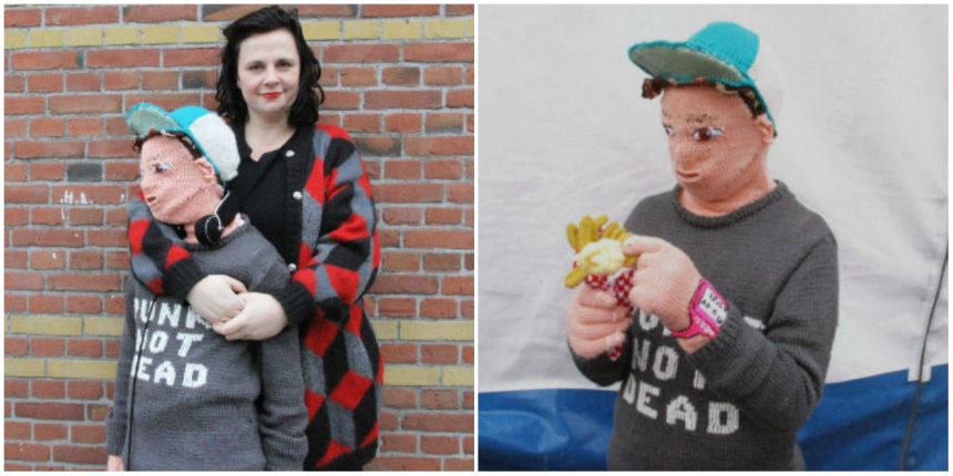 Mother makes knitted version of her son so she can cuddle with 'him'