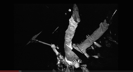 Kurt Cobain diving into the small crowd at ManRay in Cambridge, Massachusetts, April 18th, 1990