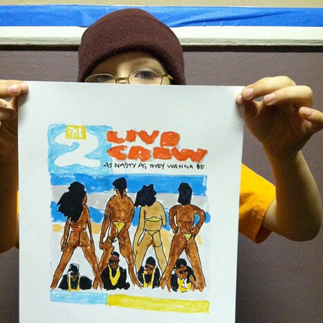 A 7-year-old's drawings of classic rap albums