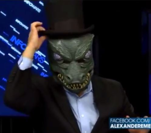 Alex Jones explains Obamacare dressed as a lizard, continues downward mental health spiral