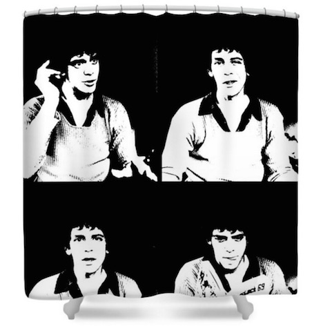 Lou Reed black and white shower curtain