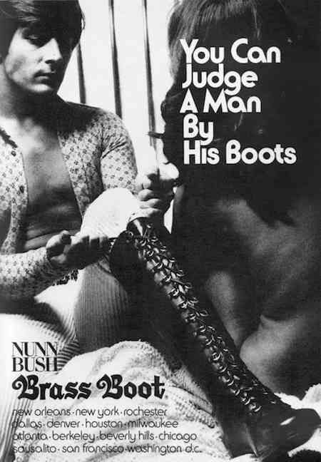Vintage ad for men's knee-high lace up boots, 1970s