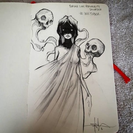Artist sketches haunting illustrations of mental illness & emotional disorders (...) @Dangerous Minds Artes & contextos For inktober I focused on Mental illness and disorders 5805ca2ae6fd4 605 465 465 int
