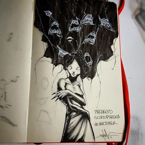 Artist sketches haunting illustrations of mental illness & emotional disorders (...) @Dangerous Minds Artes & contextos For inktober I focused on Mental illness and disorders 5805cbce9ac04 605 465 465 int