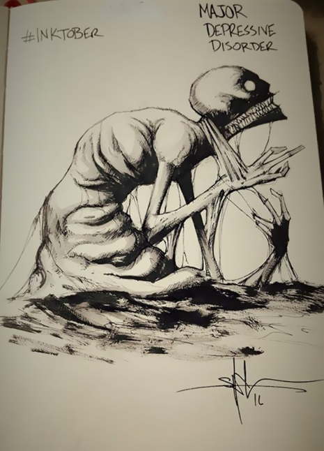 Artist sketches haunting illustrations of mental illness & emotional disorders (...) @Dangerous Minds Artes & contextos For inktober I focused on Mental illness and disorders 5805d032aa5c1 605 465 646 int