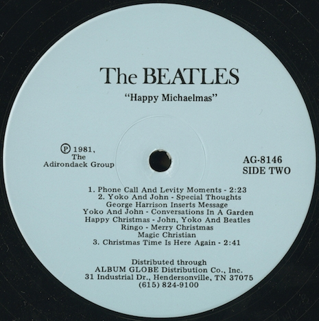 The strange tale of the unauthorized albums of the Beatles Christmas recordings Happy_Michaelmas_Side_Two_label_copy_465_467_int