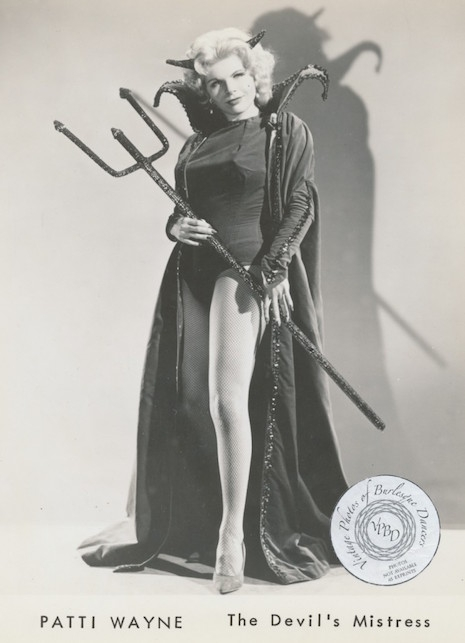 Burlesque performer Patti Wayne in character as