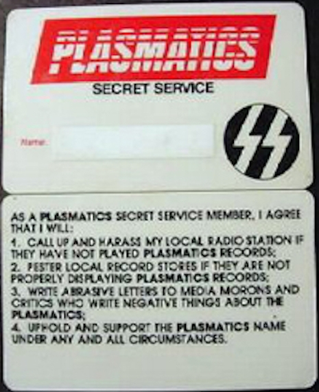 The Plasmatics Secret Service fan club membership card