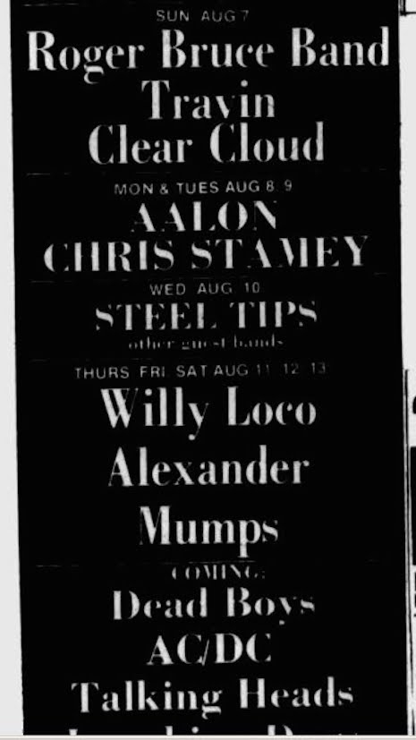 Show bill for AC/DC's show at CBGB's, August 27th, 1977