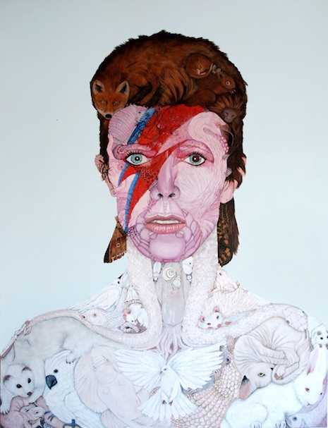 Aladdin Sane portrait made from images of animals