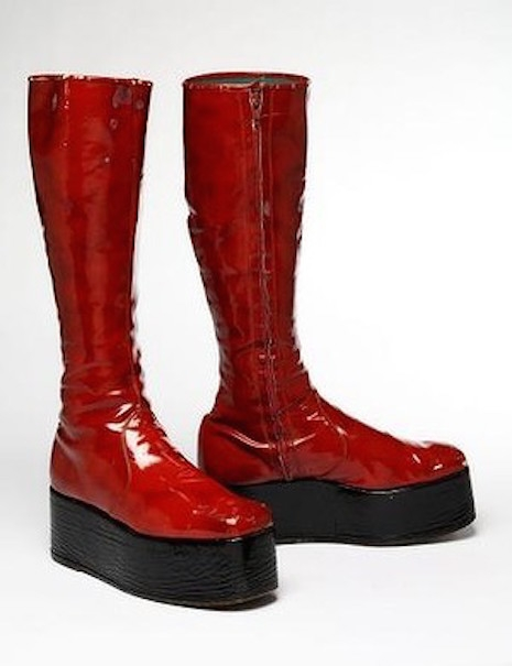 The red platform boots worn by David Bowie during the Aladdin Sane tour, 1972 - 1973