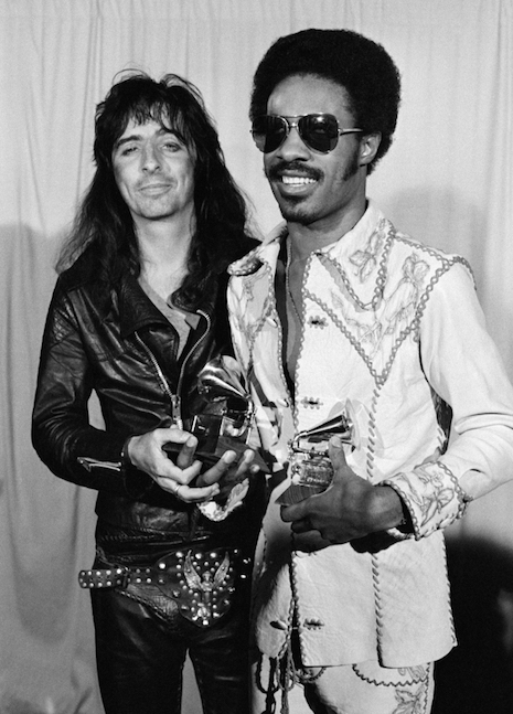 Alice Cooper and Stevie Wonder at the Grammy Awards, 1974