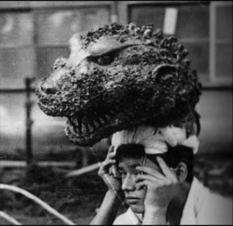 Actor on a break with his Godzilla head