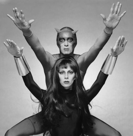 Angie Bowie (as Black Widow) and actor Ben Carruthers (as Daredevil)