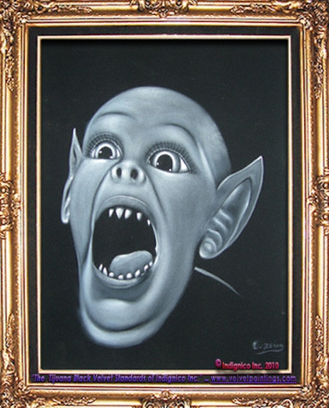 Bat Boy velvet painting