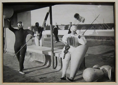 Bauhaus costumes by Bauhaus mural and sculpture department head and later theater workshop director, Oskar Schlemmer (1925)