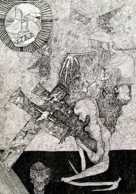 At the Mountains of Madness: Enter the chaotic worlds of Rudimentary Peni's Nick Blinko Artes & contextos bb0faf24d2a4996a570e23c94fce04ea 465 665 int