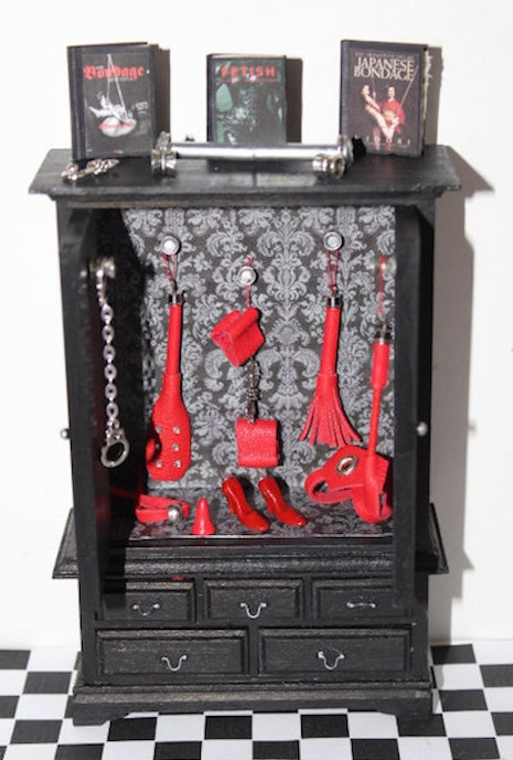 Miniature dollhouse BDSM cabinet with many accessories