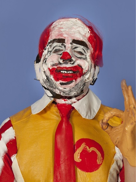 Silvio Berlusconi as Ronald McDonald living sculpture