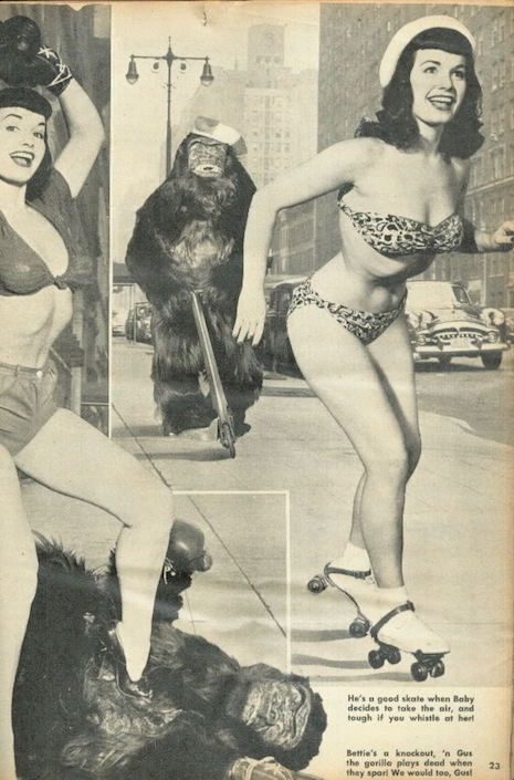 Bettie Page and Gus the Gorilla roller skating, mid-1950s