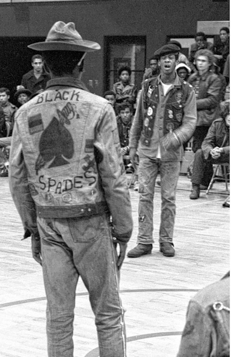 A member of the Black Spades gang at the Hoe Avenue Peace Meeting, 1971
