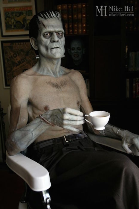 Life-sized sculpture of Boris Karloff in Jack Pierce's makeup chair