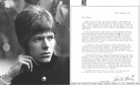 David Bowie's famous letter to a fourteen-year-old fan, 1967