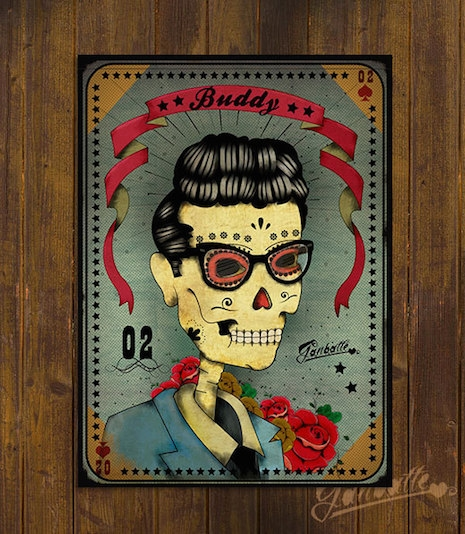 Buddy Holly sugar skull by Ganbatte