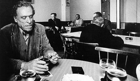 Charles Bukowski drinking in a real bar