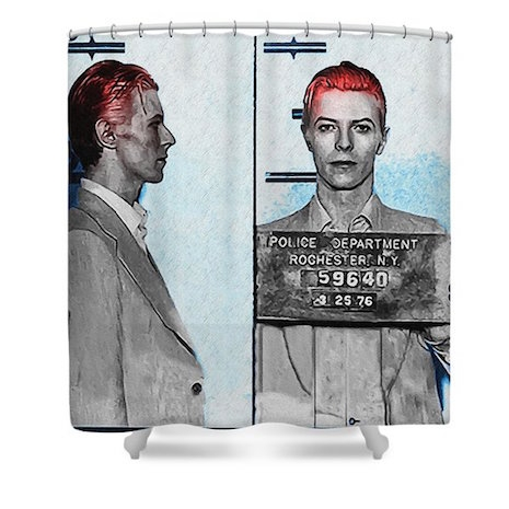 David Bowie mug-shot shower curtain
