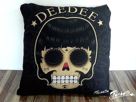 Dee Dee Ramone pillow by Ganbatte