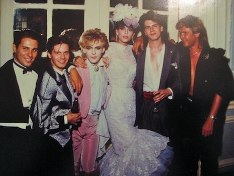 Members of Duran Duran with Nick Rhodes and Julie Anne Friedman at their wedding, August 18th, 1984