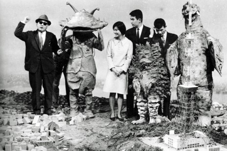 FX direcror Eiji Tsuburaya on the set with his monsters muses