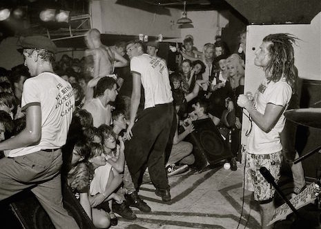Female hardcore fans up in front of the stage at a Circle Jerks show in Houston, early 1980s